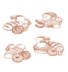 Bread and bakery or pastry sketch vector