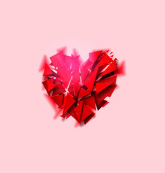 Broken heart on a pink background vector