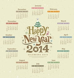 Calendar happy new year 2014 text design vector