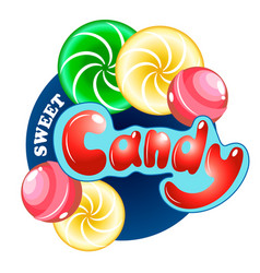 candy set with lettering vector image