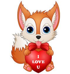 Cartoon fox holding red heart vector