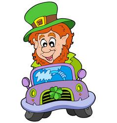 cartoon leprechaun driving car vector image