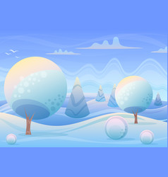 cartoon winter landscape in vector image vector image