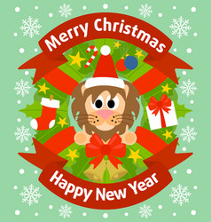 Christmas and new year background card with lion vector