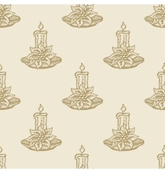 Christmas candle flower pattern seamless vector