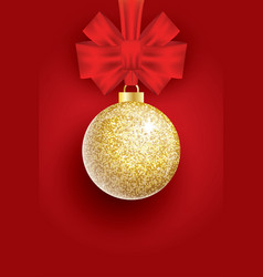 christmas golden glitter christmas ball and red vector image