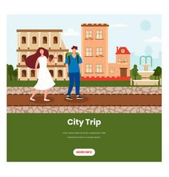 City trip web banner design template vector