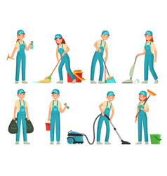 Cleaning workers professional cleaning staff vector