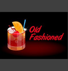 cocktail old fashioned vector image