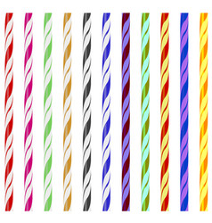 colorful striped drinking straws vector image