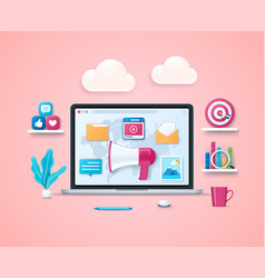 content marketing in 3d style vector image