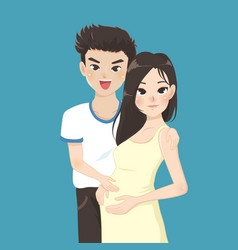 couple family husband hugging his pregnant wife vector image