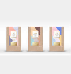Craft paper bag with chocolate labels set vector
