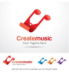 Create music logo template vector