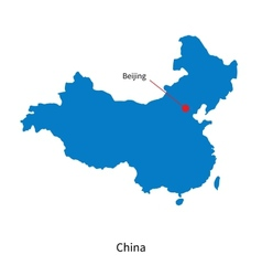 Detailed map of China and capital city Beijing vector