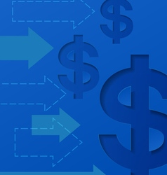 Dollar signs and arrows on blue background vector