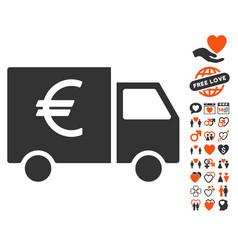 Euro car icon with lovely bonus vector