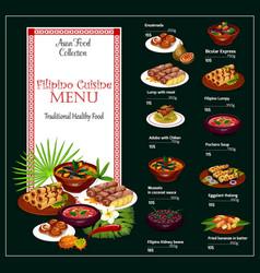 Filipino restaurant menu asian dishes and price vector
