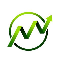 Financial growth circle green symbol logo design vector