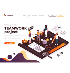flat color modern isometric concept - teamwork vector image