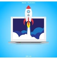 Flat rocket web icon vector