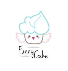 Funny minimalistic kawaii cupcake logo vector