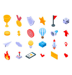 Gamification icons set isometric style vector