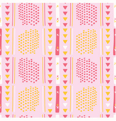 Girly pink memphis style geometric abstract vector