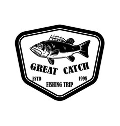 great catch emblem template with perch design vector image