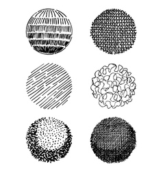 Hand-drawn spheres vector