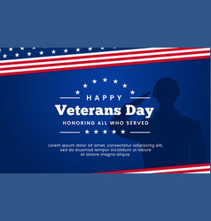 Happy veterans day honoring all who served poster vector