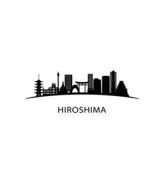 Hiroshima city skyline black cityscape isolated vector