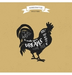 Inspiration quote hipster design label - rooster vector