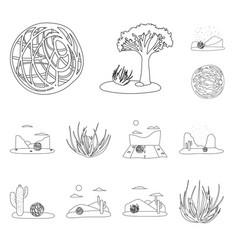 isolated object wilderness and texas icon set vector image