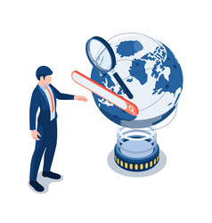 Isometric businessman touching search bar over vector