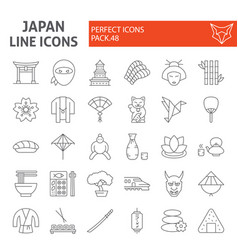 japan thin line icon set japanese food symbols vector image