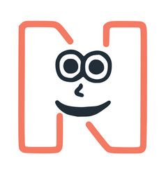 Letter n happy eccentric smiling character smiley vector
