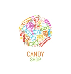 Logo template of candy shop vector