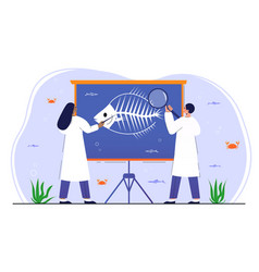male and female ichthyologists are studying fish vector image