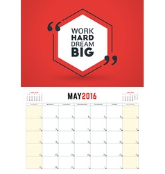 May 2016 Wall Calendar Planner for 2016 Year Week vector