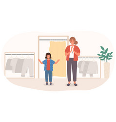 mother and daughter buying clothes for school vector image