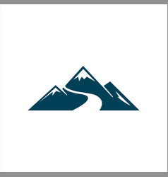 mountains with river logo template vector image