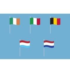 National flags of Italy Ireland Belgium vector image