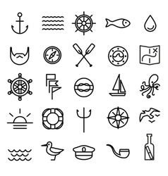 Nautical marine line icons set vector