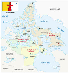 Nunavut administrative and political map vector