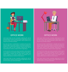 office work banners set workers pages text vector image