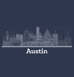 Outline austin texas city skyline with white vector