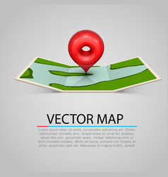 Paper map sign with red mark vector