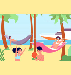 people in hammocks outdoor rest beach relaxation vector image