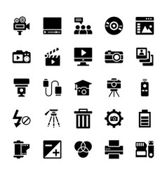 Photography equipments glyph icons set vector